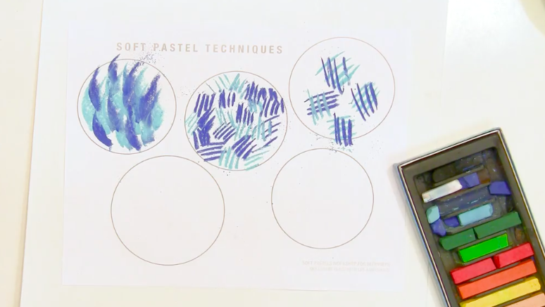 From left to right in the second and third circles on the top row of this pastel technique practice page, you can see hatching and cross-hatching, respectively.