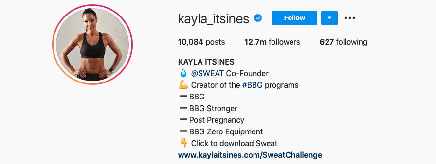 Known for her fitness content, Kayla Itsines has more than 12.7 followers around the globe.