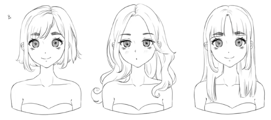 Learn how to draw short, medium, and long anime hairstyles for female characters.