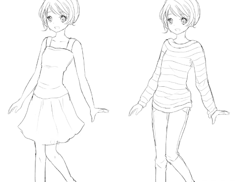 Add clothing to your anime drawing to give your character personality.