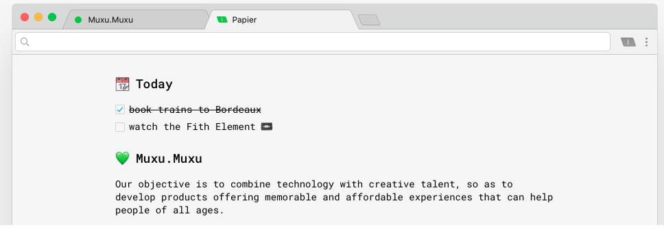 Source :  Papier is a simple note-taking app that you can easily tie into your browser.