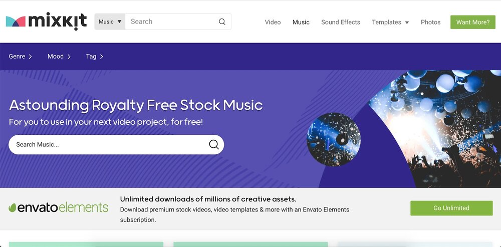 Source:   https://mixkit.co/free-stock-music/      MixKit offers free stock music, along with video and other assets.
