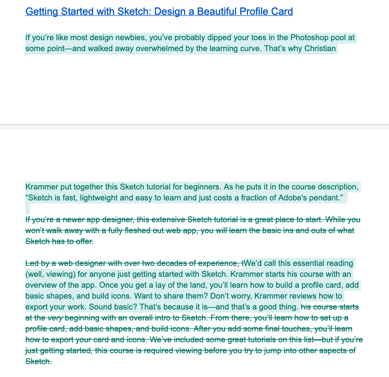 """An example of an """"ugly draft"""" that eventually evolved into  this post on the Skillshare blog ."""