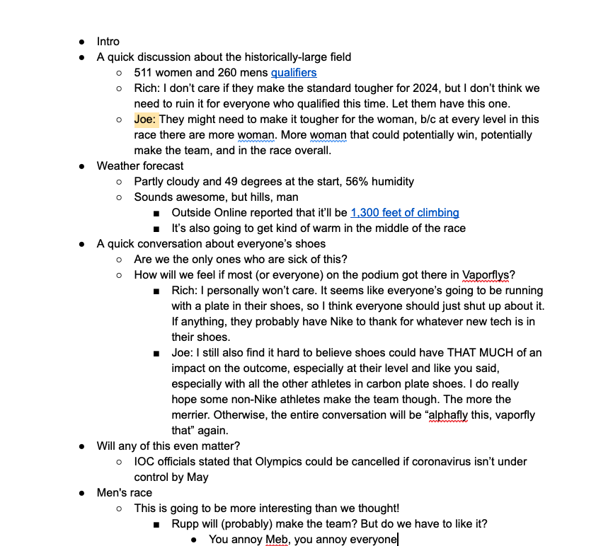 A real example of a podcast outline that was used in the creative process for an hour-long episode.