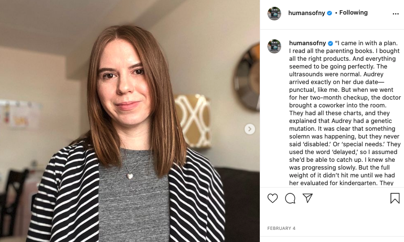 Image via   Instagram      Humans of New York is a great example of how long-form content can still work well on a visual platform like Instagram.