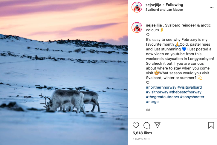 Image via   Instagram      Cecilia's mix of captivating imagery, emojis, and questions helps her increase user engagement by appearing friendly and interested in her followers' lives.