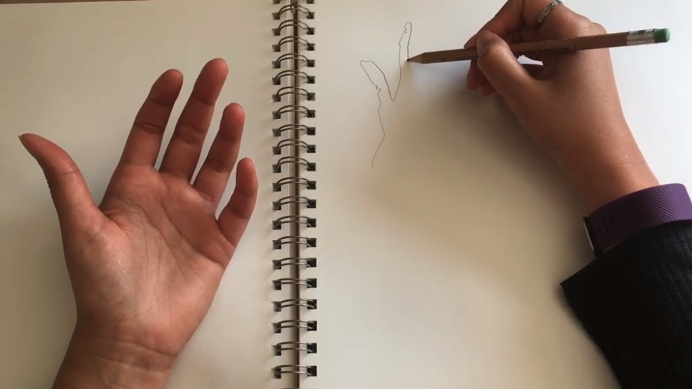 Aim to start your drawing either at the far edge and work inwards or in the middle of your paper.