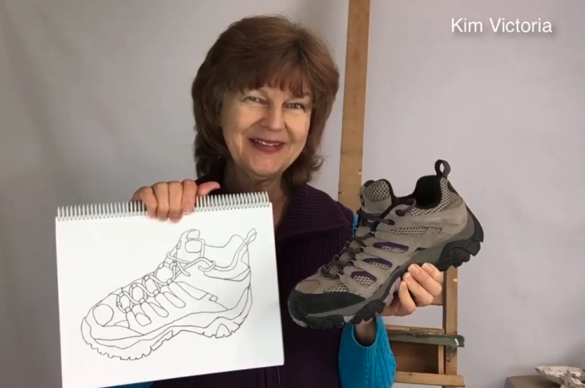 Skillshare instructor and artist Kim Victoria demonstrates how to draw a traditional contour line drawing.