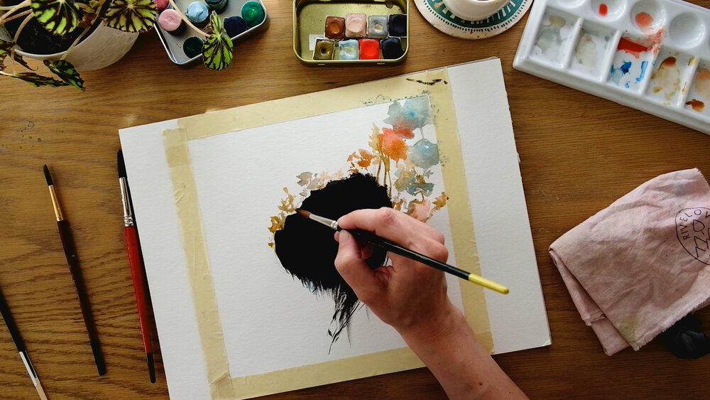 Photo of the watercolor process provided by    Marie-Noëlle Wurm   .