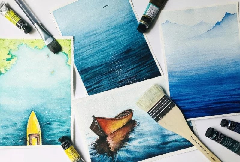 Watercolor by Skillshare teacher Zaneena Nabeel for her class,    Watercolor Seascapes : Everything you Need to Know About Painting Water & Reflections