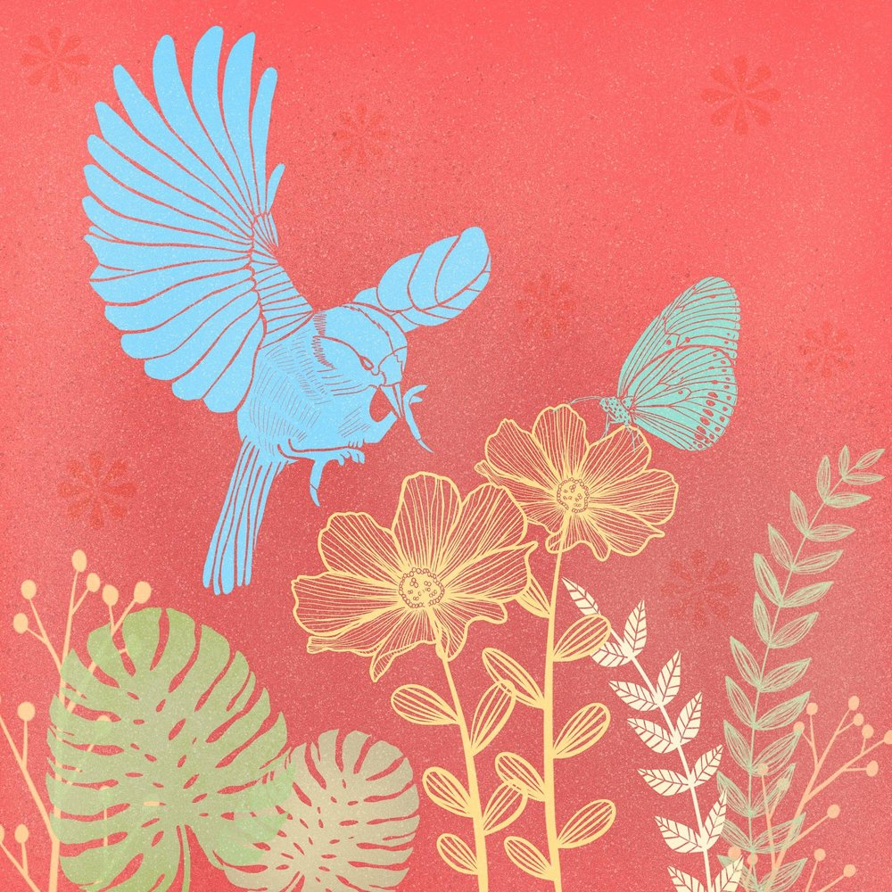 My Garden…Block Print Style made in Procreate