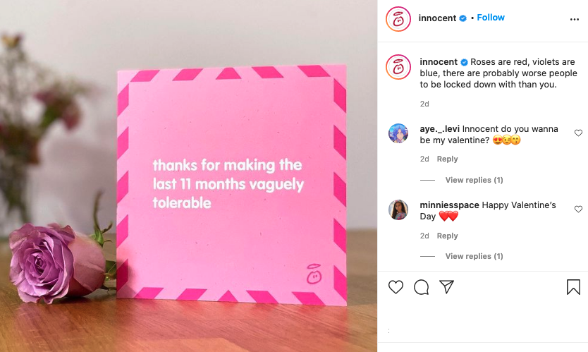 Image via   Instagram      Innocent combines humor and shareable content to drive engagement.