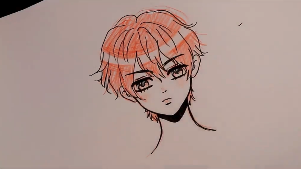 Adding color to your boy anime drawing can add an extra element to your sketch.