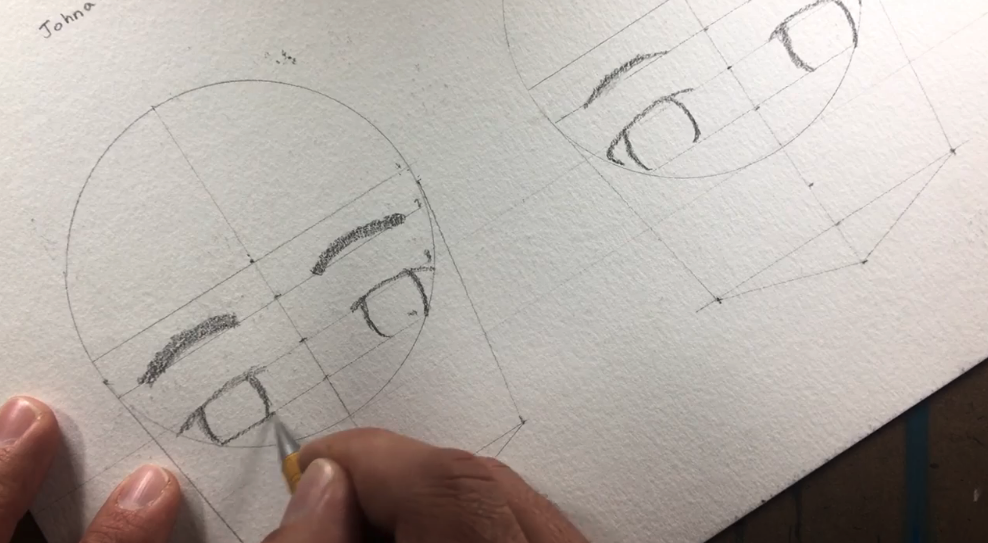 The guidelines help to map out eyes and eyebrows on your character.