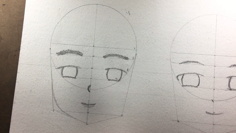 Add extra guidelines around the circle to map out the nose and mouth..