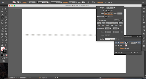 To make a basic dotted line in Illustrator, use the appearance panel and these stroke settings.