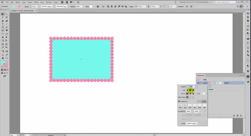 The appearance panel is used to create a dotted line on a shape.