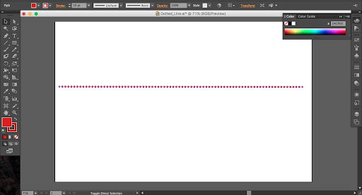 Coloring a dotted line.