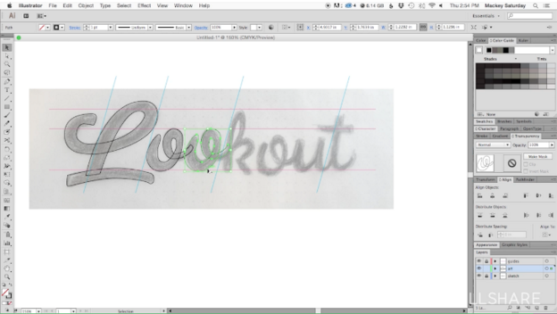 Use the pen tool to trace your logotype.