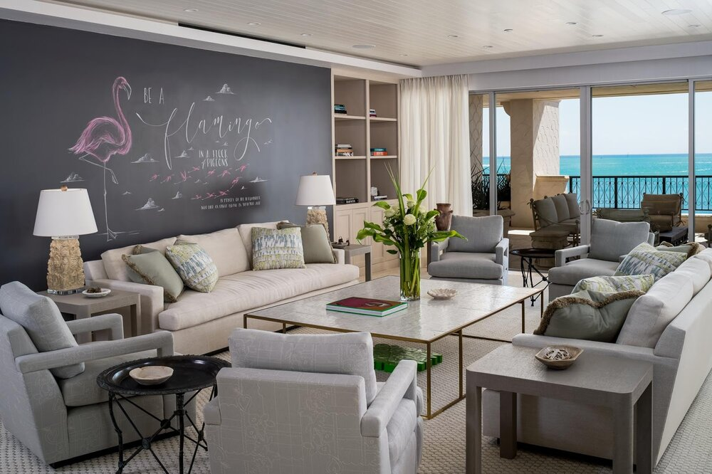 The Jayne Design team puts a new spin on chalkboard paint in this Miami family room.