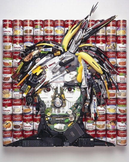 Andy Warhol • Soup cans, bananas, computer and cell phone parts, film rolls, silver ink pen, 2007 by Jason Mecier