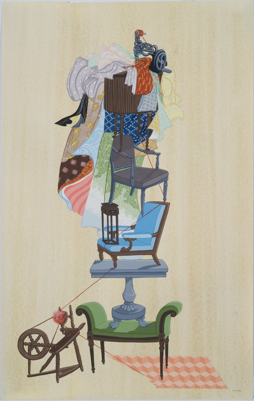'The Cover Up' (2012, gouache on paper, 19 x 12 inches) by Justin Richel