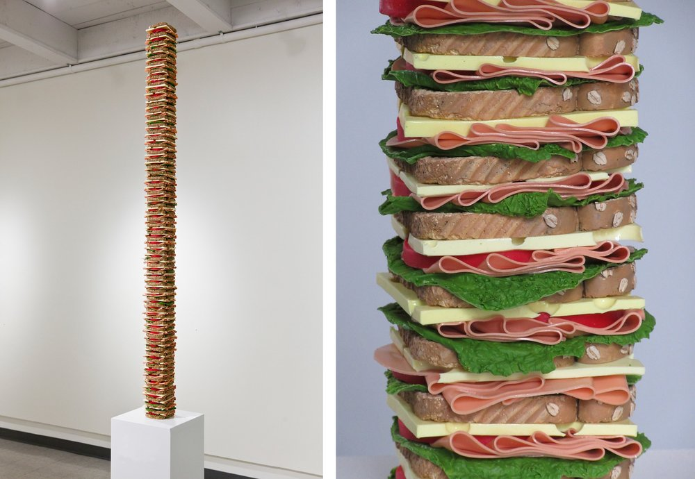 'Tall Order' (Bologna and Cheese) (silicone, urethane plastic, acrylic, 72 x 4 x 4 inches, 2016-17). by Justin Richel