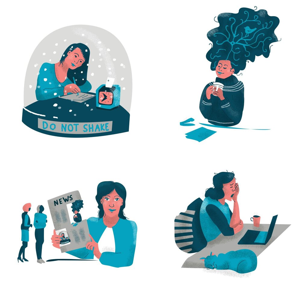 Illustration series 'Necessary Things for a Freelancer' by Skillshare student Lisbeth L. for Tom Froese's class    Sweet Spots: Expressing Big Ideas in Small Editorial Illustrations   .