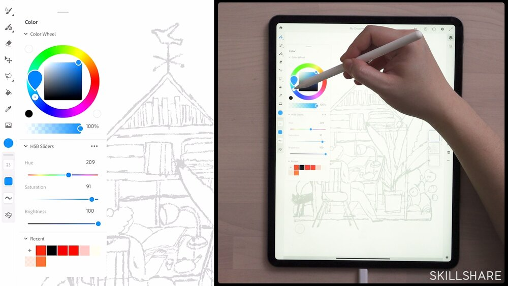 Lisk Feng chooses a color in her class,   Creative Digital Illustration: Learn to Use Adobe Fresco