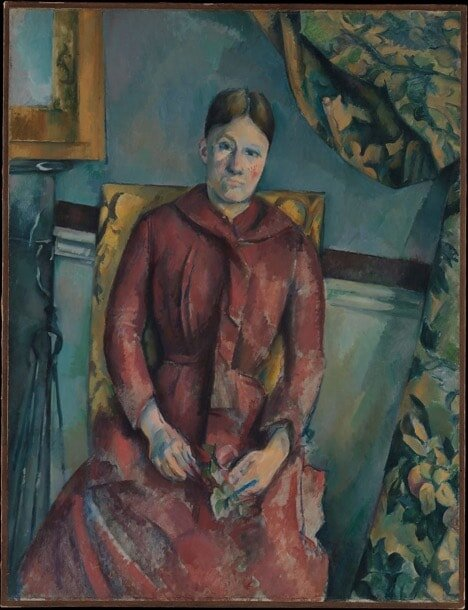 Paul Cézanne: Madame Cézanne (Hortense Fiquet, 1850–1922) in a Red Dress,1888–90. The Mr. and Mrs. Henry Ittleson Jr. Purchase Fund, 1962. On view at The Metropolitan Museum of Art.