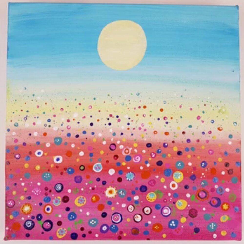 This fun floral meadow looks beautiful on canvas.