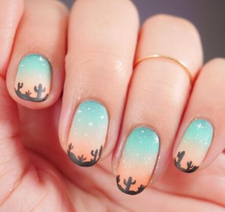 Image via  Instagram    This manicure will transport you to the desert's starry summer skies.