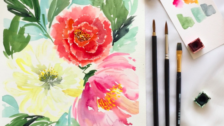 Paint beautiful peonies with  Farah .