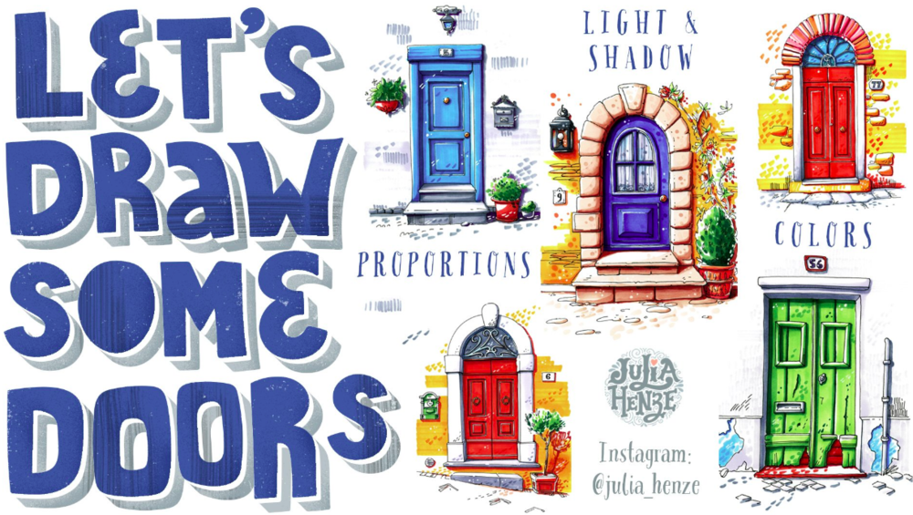 Up your urban drawing skills by learning to   d  raw doors with Julia