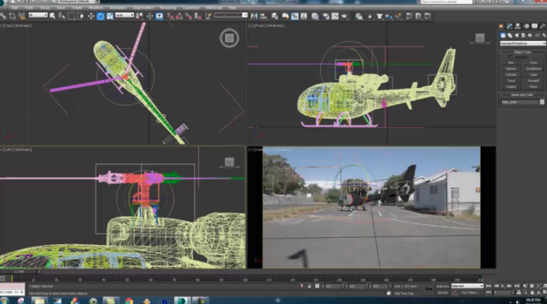 Visual effects, such as this animation of a helicopter, can be added in post production.