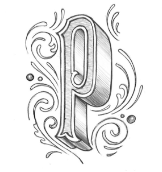 """""""Sketchy P with some reorganized flourishes; pulled from a tee done in ~2012. #36daysoftype #36daysoftype04 #36days_p"""""""