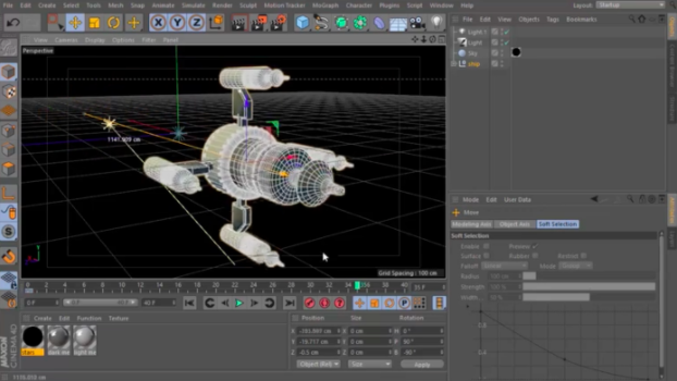 Cinema 4D animation software can be used to create and texture 3D objects, and then light, animate, and render them out for final use.