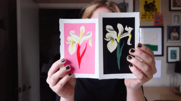 Dylan Mierzwinski showcases how well different colors of gouache can be layered to create a beautiful, bold design.