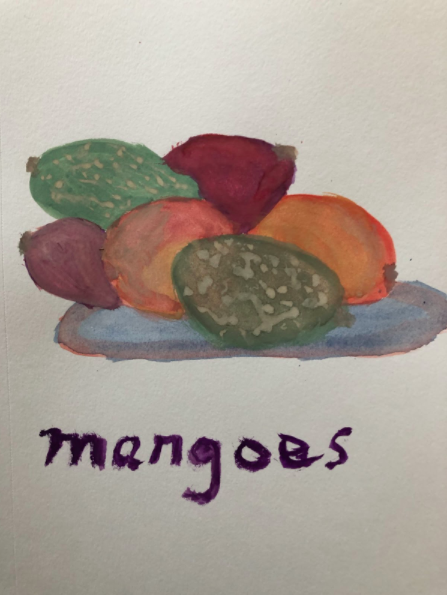 I used the principles of shape, color, and pattern from Alanna Cartier's class to create a gouache rendition of these mangoes.