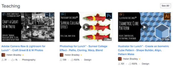 A sampling of Helen Bradley's Skillshare course offerings
