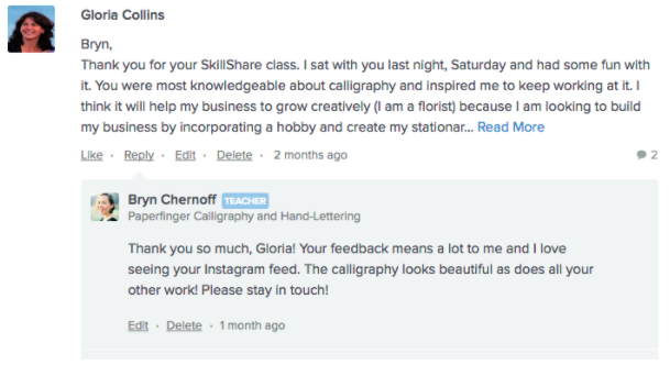 An example exchange between a Skillshare student and instructor