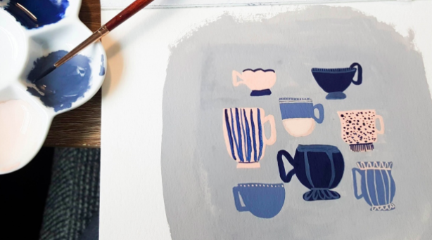 Painting with gouache starts with mixing your paint with water to achieve the right consistency.