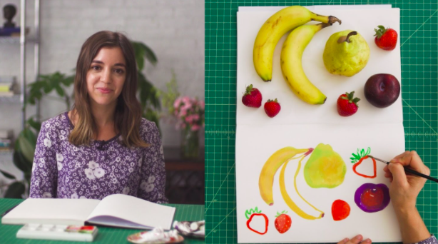 In Leah Goren's class on painting with gouache for beginners, she shows students how to paint a still life using different fruits.