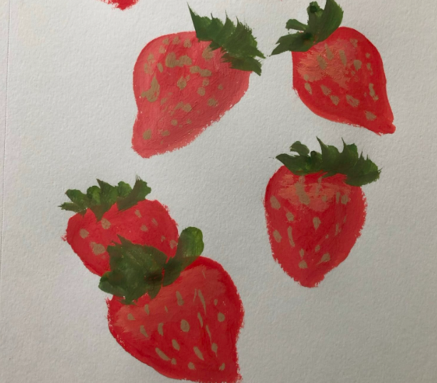 My attempt at painting with gouache to create strawberries.