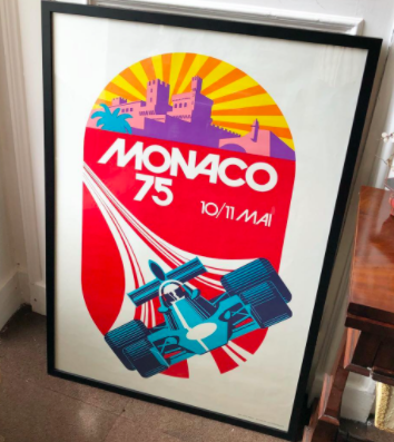 Michael Turner's poster celebrating the 1975 Monaco Grand Prix combines elements of the race location and the race itself. | Retro Design Mega Guide by Skillshare