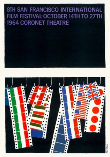 The variety of flags in this Saul Bass poster celebrate an international film festival. | Retro Design Mega Guide by Skillshare
