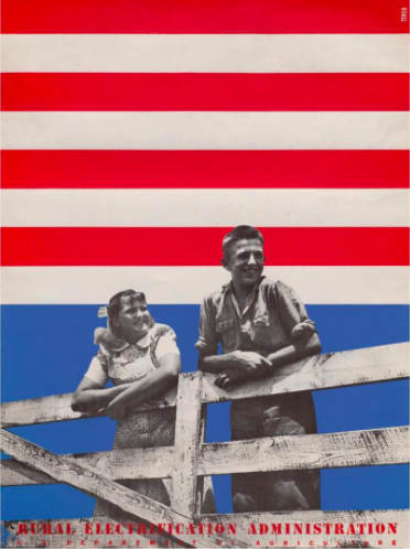 In this poster for the Rural Electrification Administration, Lester Beall combined the colors of the American flag with a black-and-white photo. | Retro Design Mega Guide by Skillshare
