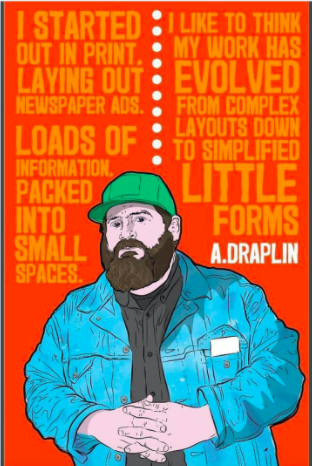 Aaron Drapin created this self-portrait with retro letterforms and bold colors. | Retro Design Mega Guide by Skillshare