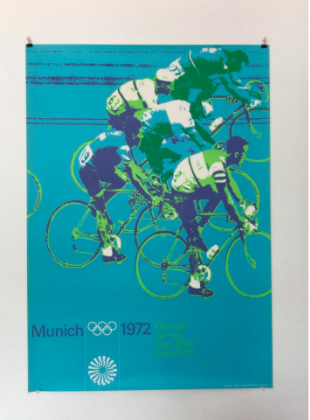 This poster featuring cyclists in tones of blue and green was designed for the 1972 Olympics by Otl Aicher. | Retro Design Mega Guide by Skillshare