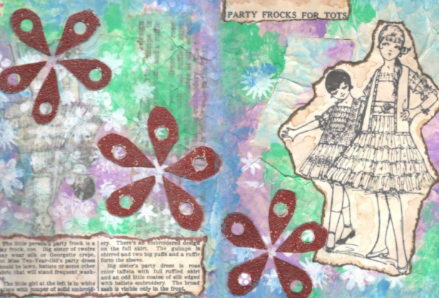 Vintage mixed media ideas displayed within Skillshare student Christina Kary's art journal